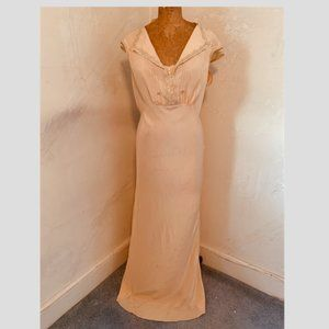 30's silk bias cut nightgown with lace trim.